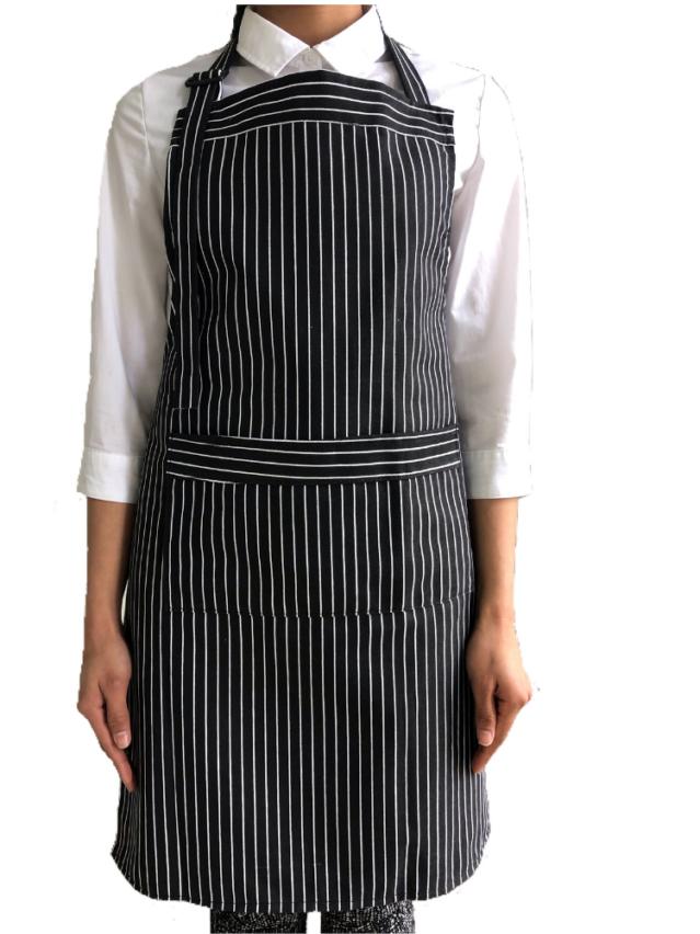 Black & White Butcher Stripe Bib Apron (100% Cotton Aprons With Pocket)