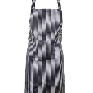 Black & White Butcher Stripe Bib Apron (With Pocket)