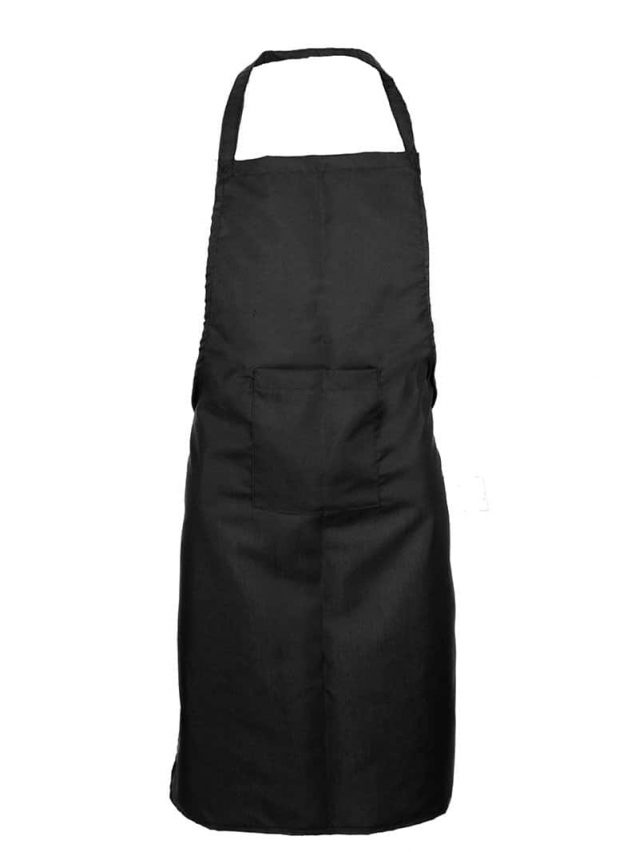 Black Bib Apron (With Pocket)