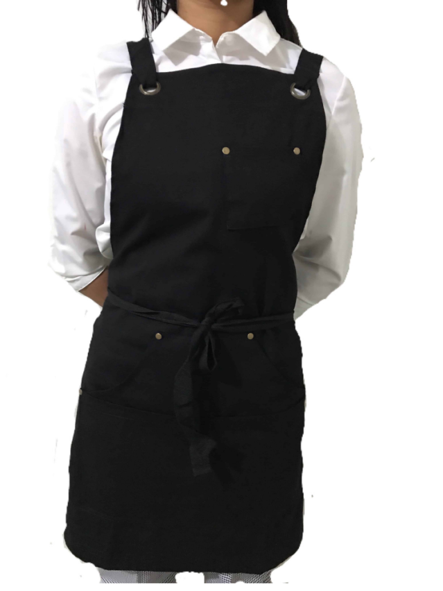Black Cotton Canvas Apron (With Pocket)