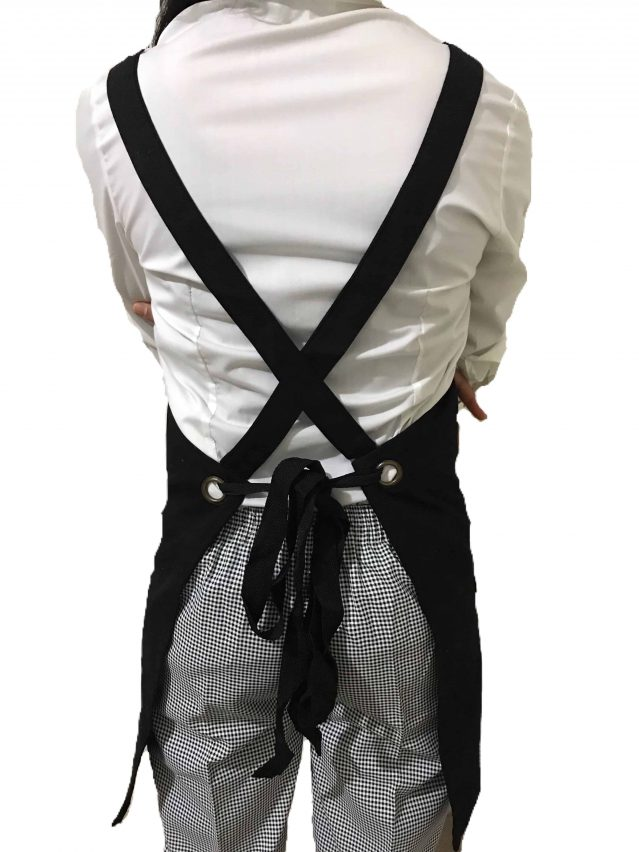 Black Cotton Canvas Apron Back
