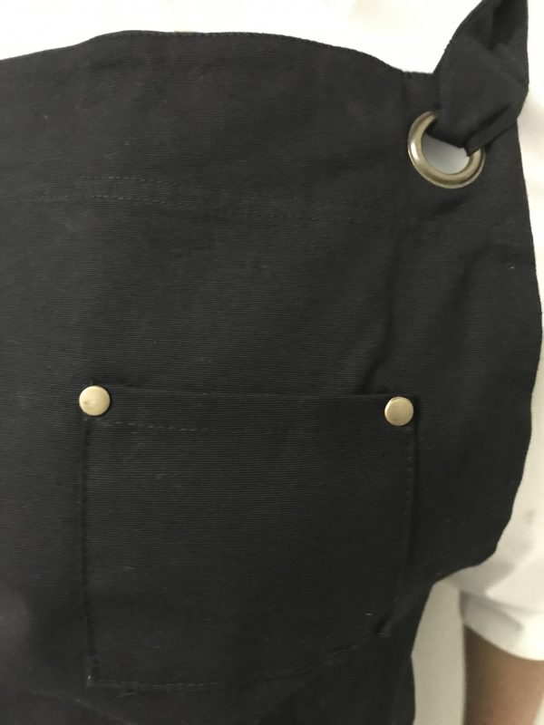 Black Cotton Canvas Apron Pen pocket