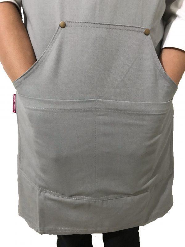 Grey Cotton Canvas Apron Pocket