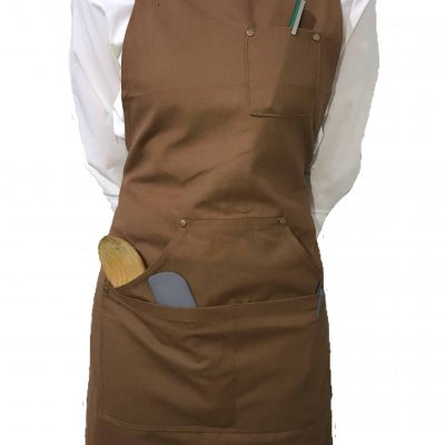 Brown Cotton Canvas Apron (With Pocket)