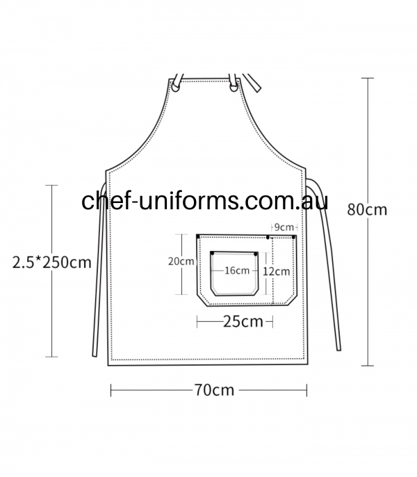 Luminous Denim Apron Size Chart