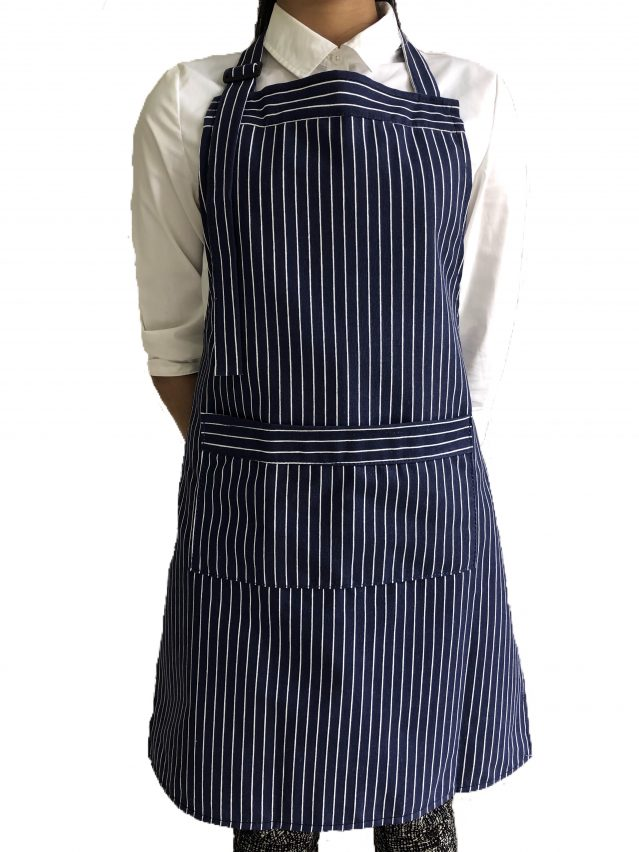 Blue & White Butcher Stripe Bib Apron (100% Cotton Aprons With Pocket)