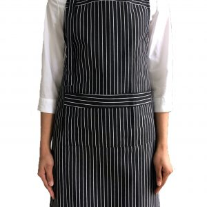 Black & White Butcher Stripe Bib Apron (100% Cotton Aprons With Pocket)