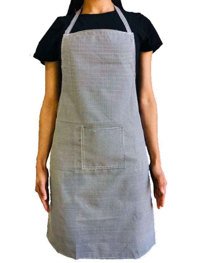 Black & White Check Bib Apron (With Pocket)