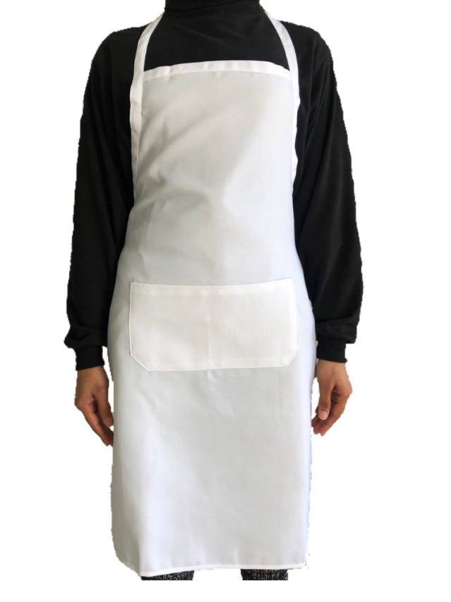 White Apron (Full Length Apron with Pocket)