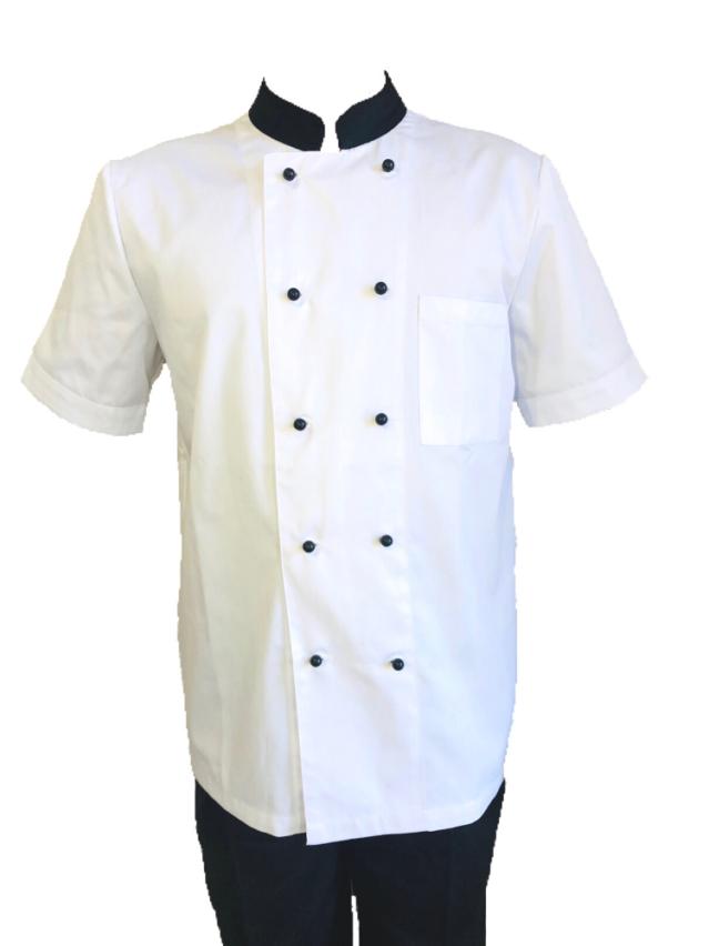 White Chef Jacket (Black Stud Buttons)