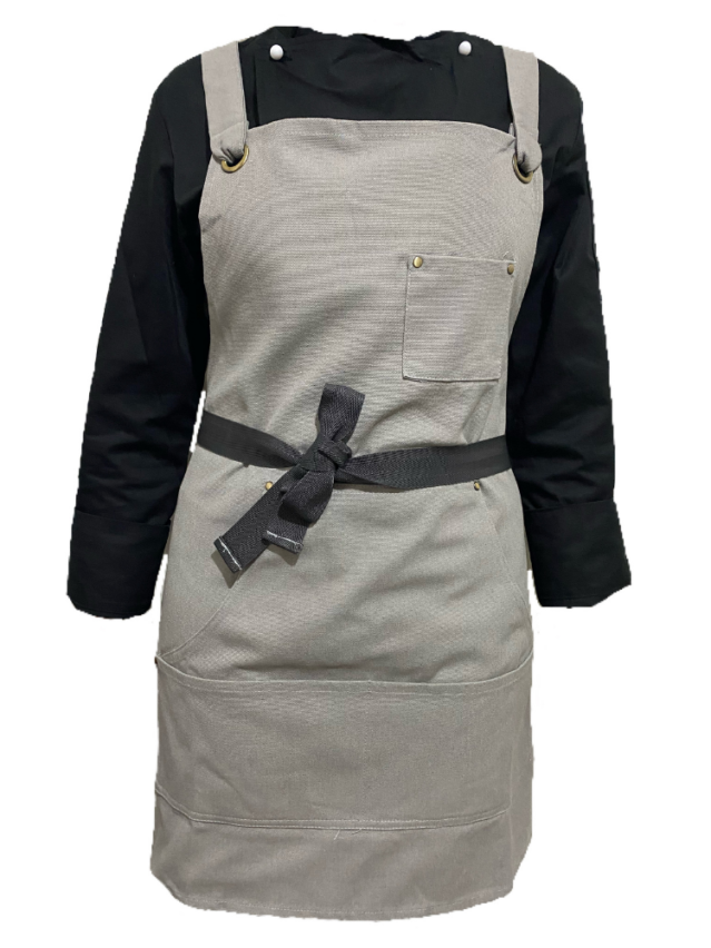 Grey Canvas Apron (With Pocket)